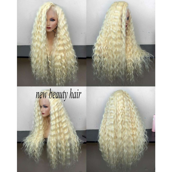 High quality wholesale cheap 613 Frontal Full hair Wigs Long loose curly Platinum Blonde Synthetic Lace Front Wig For White Women
