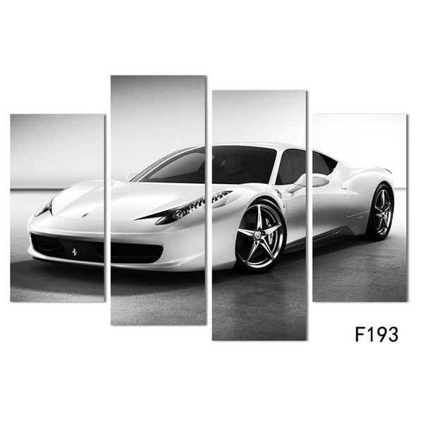 White Sports Car ,4 Pieces Home Decor HD Printed Modern Art Painting on Canvas (Unframed/Framed)