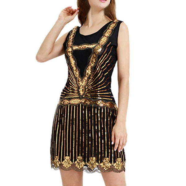 2019 New Fashion Women's Dresses Vintage 1920s Bead Fringe Sequin Lace Party Flapper Cocktail Prom Skinny Tanks Gold Dress