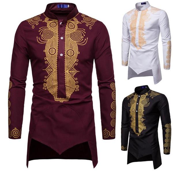 남자 셔츠 Kurta 긴 소매 무지개 이슬람 이슬람 옷 남자 톱 불규칙한 밑단 네팔 스타일 Hombre 긴 셔츠 플러스 크기 J1811141