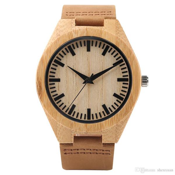 Orologi in legno nuovo arrivo 2018 per gli uomini orologio al quarzo ragazzo scala di tempo con giallo braccialetto in vera pelle braccialetto regalo