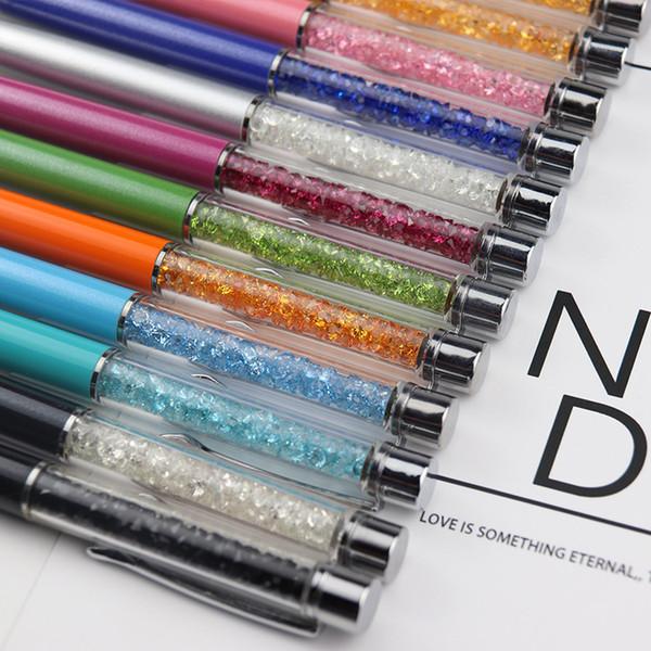 Función Mutlti Metral Touch Pen Luxury Diamond Crystal 2 en 1 Pantalla táctil Piedras del Strass Capacitiva Stylus Ball Pen Gratis DHL 003
