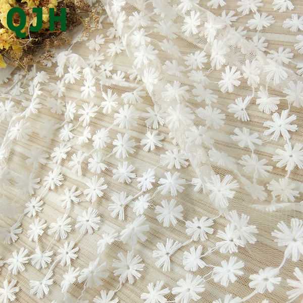 best selling New White Swiss Cotton Thread Embroidered Lace Fabric 120cm Width French Voile Soft Hollow Mesh Tulle DIY Wedding Dress Cloth