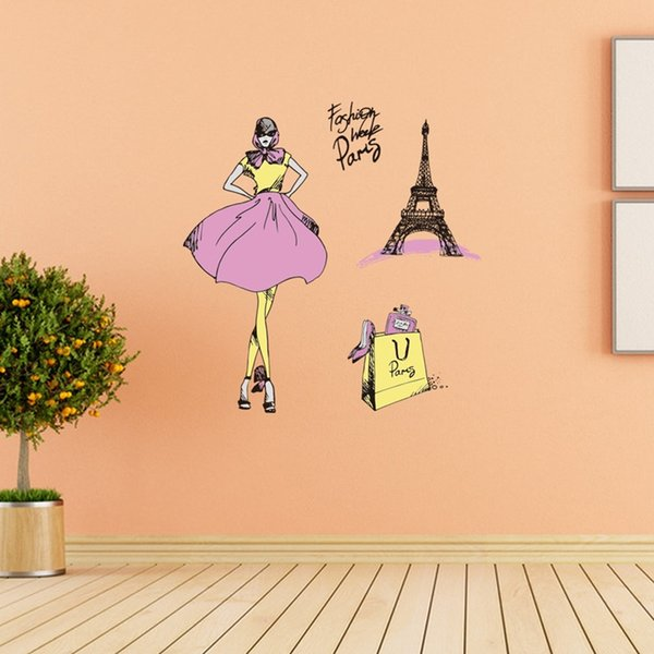 Fashionable Woman Shopping Paris Wall Stickers DIY Fashion Themed Wall  Decal For Girls Room And Dressing Room Decor Eiffel Tower Decal Bedroom  Decals ...