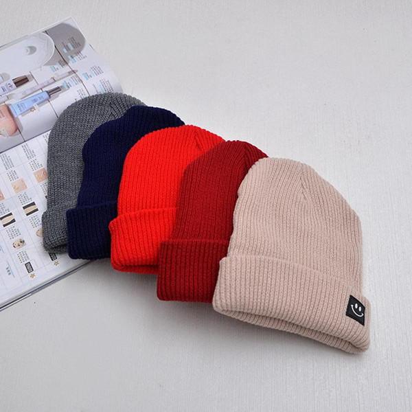 Neue Korea Mode Frauen Herbst Winter Kappe Einfarbig Cartoon Baumwolle Gestrickte Skuilles Mützen Für Jungen Mädchen Warme Beiläufige Mütze