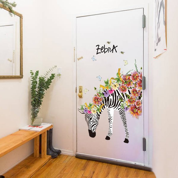 New Colorful Zebra Flowers Wall Stickers Home Decor Bedroom TV Sofa Wall Door Decoration Wallpaper PVC Animal Art Mural Poster