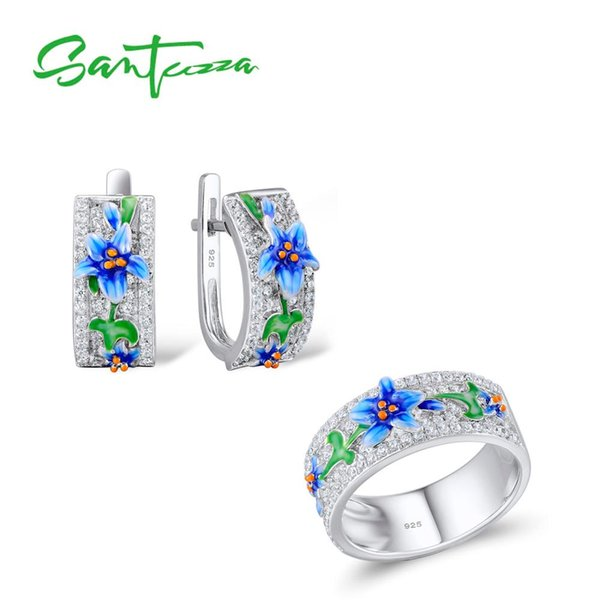 wholesale Silver Jewelry Set For Woman Blue Flower Ring Earrings 925 Sterling Silver Party Fashion Jewelry Set HANDMADE Enamel