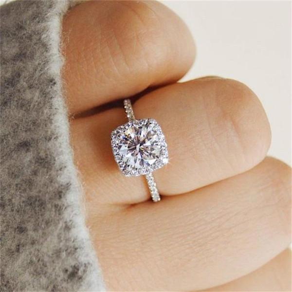 Mulheres Anéis Boêmio Quadrado Cristal Conjunta de Prata Anel Clássico Senhora Festa de Noivado Acessórios de Jóias