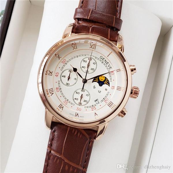 Marca de alta calidad pp de función completa Relogio Hombres Relojes de lujo de cuero del partido del reloj de cuarzo Relogio Feminino Montre Femme
