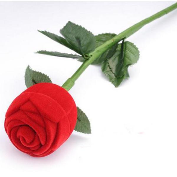 Engagement Rose rouge romantique anneau de mariage Boucles d'oreilles Pendentif Boîte à bijoux cadeau de cas