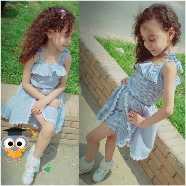 Yaz Kızlar Çizgili Elbise Etek Kolsuz Dantel Ilmek Çiçek Bebek Romper Tulum Pantskirt Çocuklar Prenses Elbise 1-6 T Için A52202
