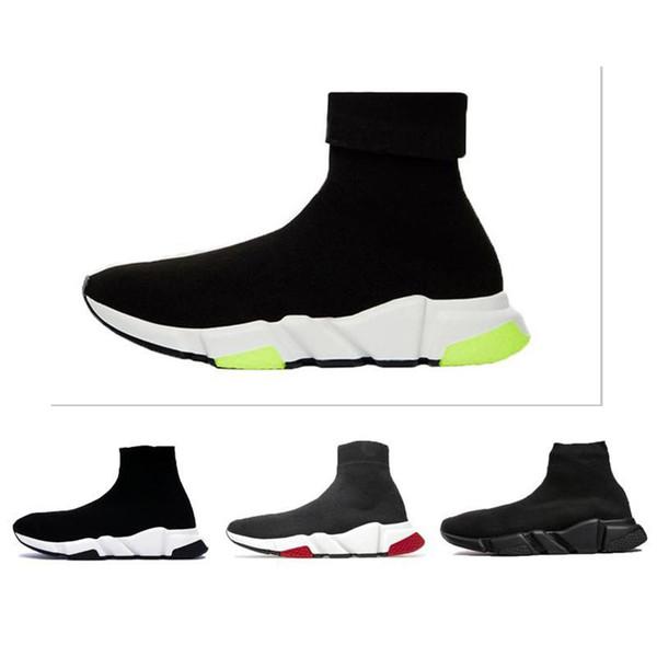 2019 Designer-Schuh Speed Trainer Oreo Triple Black Grün Wohnung Luxusmode-Socken-Boot-Designer Männer Frauen Turnschuhe mit Kasten Staubbeutel-c17