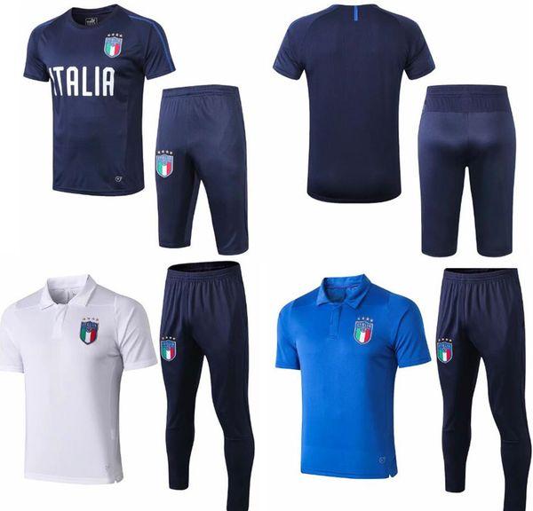 Survetement football Italy cavani short sleeve 3/4 training kits Italian traini de foot mens tracksuits suit Paris Saint-Germain soccer sets
