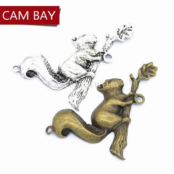 20 pcs Antique Squirrel Charm Metal Pendants for necklace jewelry making 65*34mm D9230