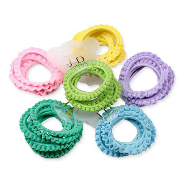 6pcs/lot Girls Hair Bands Fashion Children Hair Accessories High Quality Solid Lace Rubber Band Hair Rope Ponytail Holder