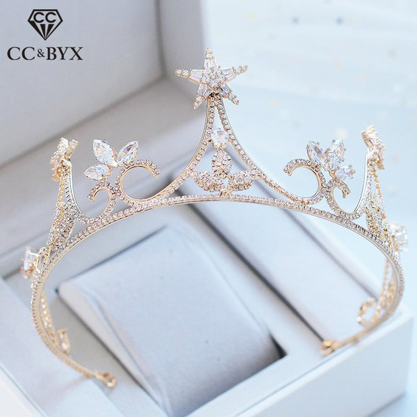 CC wedding jewelry crown tiara hairbands engagement hair accessories for bride star shape simple cubic zircon forest style XY366