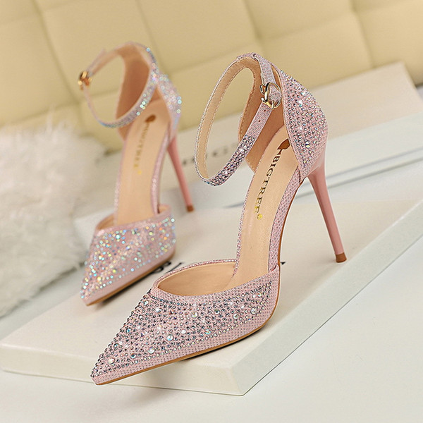 Sweet ladys sequins stiletto high heels wedding shoes shallow mouth pointed hollow rhinestone women's pumps 7 colors 283-16