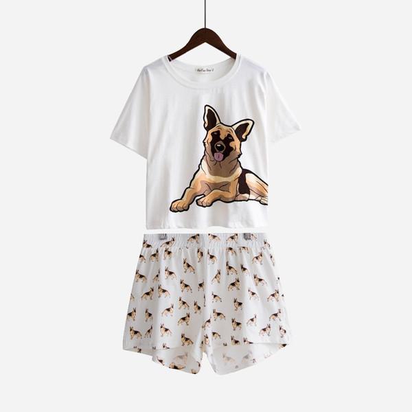 d15098ea543 Summer Nightwear Pajamas Women Dog Print German Shepherd Pajama Sets Loose  Top Elastic Waist Shorts Pijama