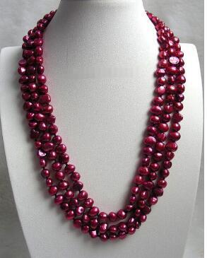 Free Shipping AT330 XF2 A>baroque 3row wine red freshwater pearls necklace