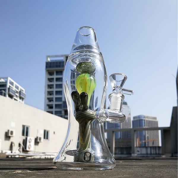 Straight Tube Glasbecher Bong Green Lava Lamp Glasbong Oil Dab Rigs 14mm Innengewinde Wasserleitungen Mit Schüssel