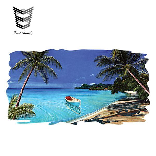 wholesale 20pcs/lot RV Trailer Motorhome Camper Decal Funny Beach Tropical Scene Ocean Graphic Sticker 3D Styling 13cm x 7cm