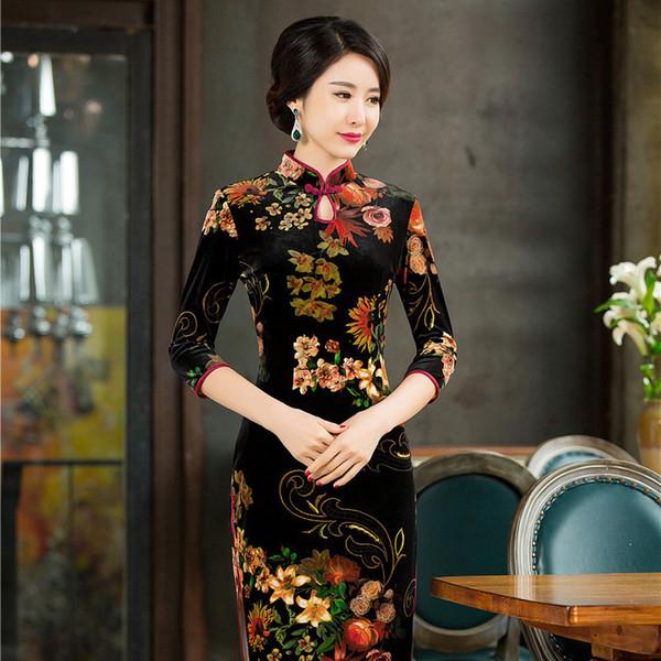 Style Chinois pour Femme Robe Traditionnelle en Velours /à Manches Longues