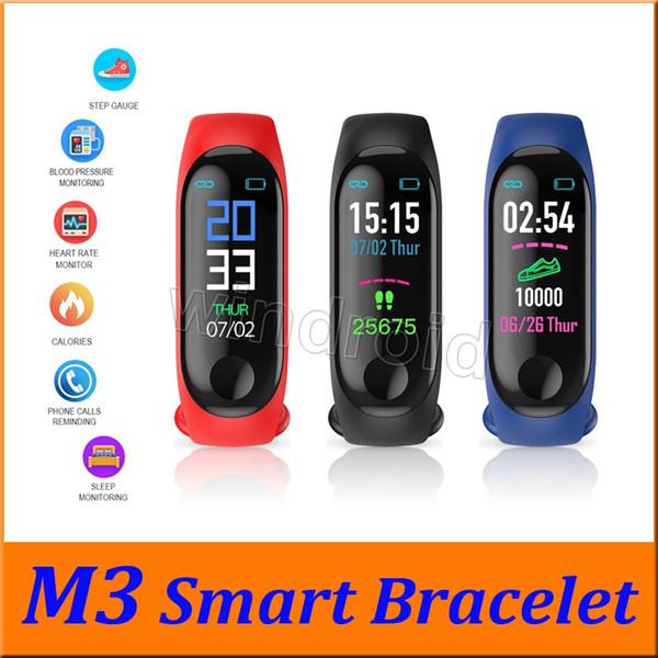En ucuz M3 Fitness Akıllı Bilezik IP67 su geçirmez Kalp Hızı Monitörü Uyku izleme smartwatch PK Mi Band Bilekliği Ayrılabilir renkli