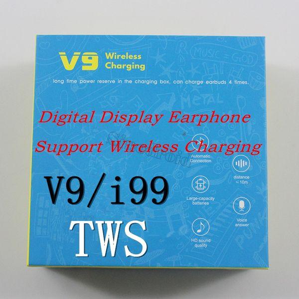 i99 TWS Auto Pairing Auricolari Bluetooth finestra pop-up di supporto di carico senza fili auricolari Touch Control V9 Cuffie per iPhone 11