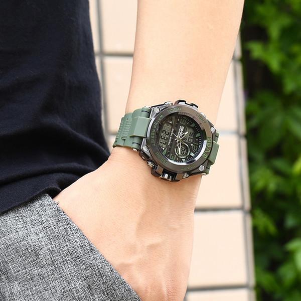 üst marka erkek Çift Ekran su geçirmez saati erkek spor LED izlemek Çift zaman Erkek Saat Reloj Hombre saatler