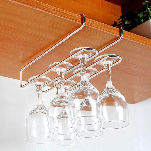 Stainless Steel Champagne Stemware Rack Wine Glass Cup Holder Kitchen Under Cupboard Wine Cup Rack Holder Bar Hanger Shelf