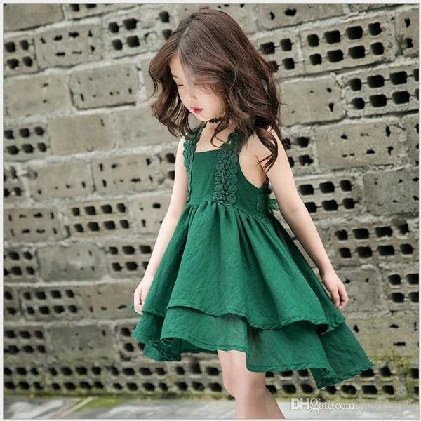 Summer Sweet Girls Princess Vest Dress Baby Girl Lace Petal Dresses Niños sin mangas Vestido Niños Lace Dovetail Faldas 90-140cm 6pcs / lot