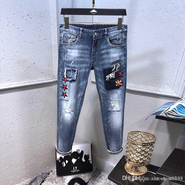 Skinny Jeans Distressed Ripped de dS2Men Fashion Designer Hommes Jeans Slim Moto Moto Biker causales Hommes Denim Pantalons Hip Hop Hommes Jean