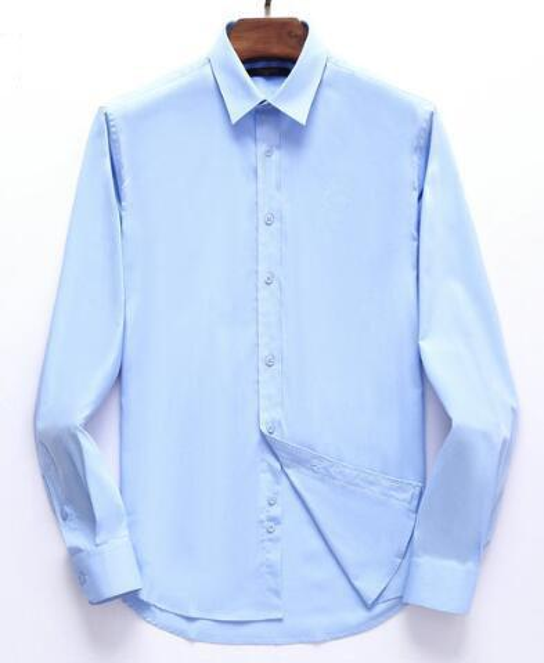 Hommes solides Chemises Costumes Paris manches longues en coton France Design Le Casual shirt Mode Chemises social formel M-3XL Bleu Blanc Noir