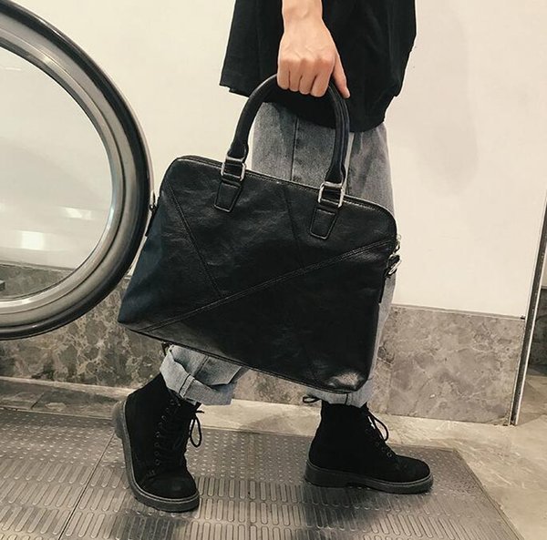 Wholesale brand men handbag simple sewing casual handbag portable horizontal business briefcase soft leather shoulder bag computer bag