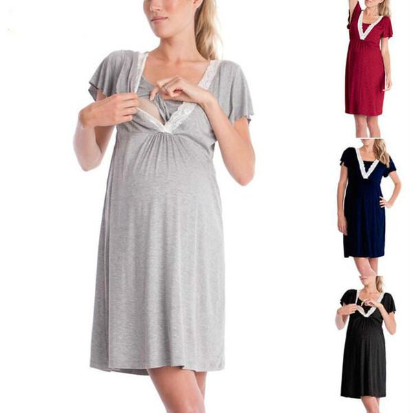 634901818 Mujeres embarazadas pijamas camisón de hospital para mujer sin mangas de  maternidad de enfermería ropa de