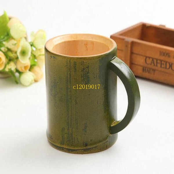 200pcs Handmade Natural Bamboo Tea Cup Japanese Style Beer Milk Cups With Handle Green Eco-friendly Travel Crafts