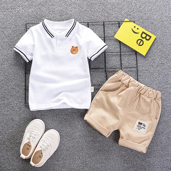 2019 Baby Boy Sommerkleidung Set Kurzarm Gestreiften Bär Baumwolle T-Shirt + Shorts 2 STÜCKE Outwear Coole Kinder Kleidung Anzug Set