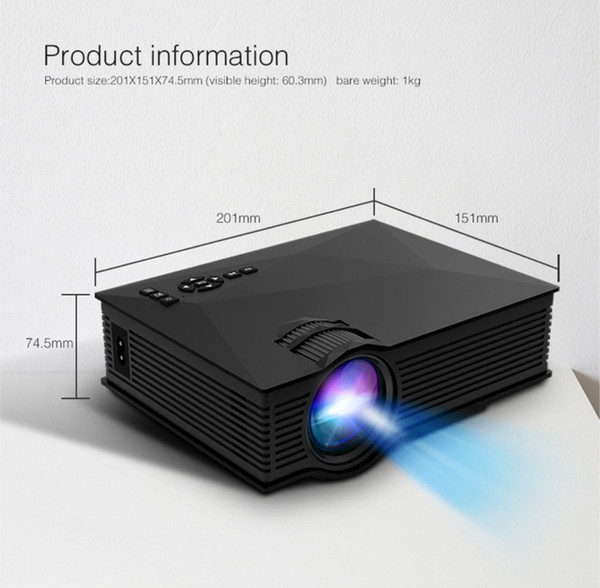 Mini Projetor LEVOU 1080 P HD LCD Projetores UC68 Multi-Media Player Portátil Unici Wifi Sem Fio DLNA Miracast Display Home Theater HDMI Andro
