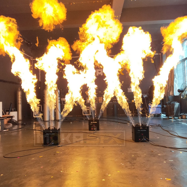top popular 3 Heads Fire Machine Triple Flame Thrower DMX Control Spray 3M for Wedding Party Stage Disco Effects 2021