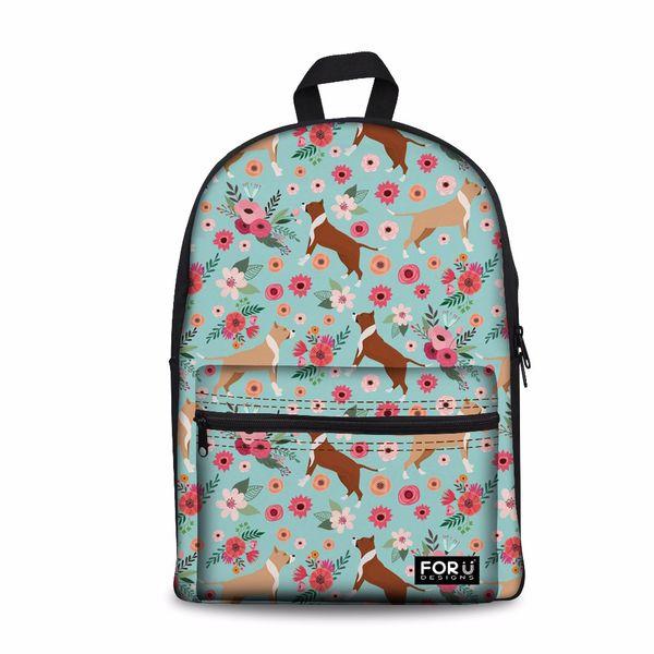 Kundenspezifische Schulter Rucksack Weiblichen Casual Daypack Große Laptop Schultasche Frauen Pit Bull Dog School Bagpack für Teenager Mädchen