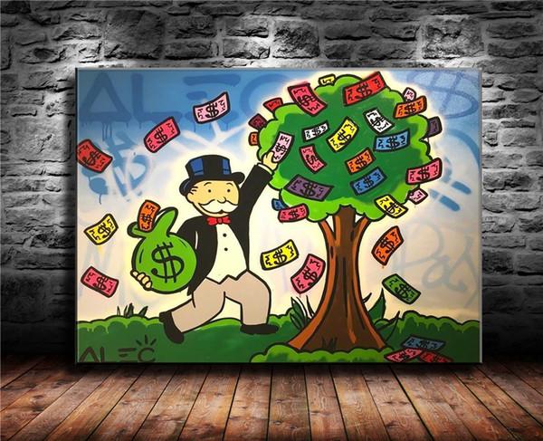 Alex Monopoly -2,1 Piezas Impresiones de lienzos Arte de la pared Pintura al óleo Decoración del hogar (sin marco / enmarcado) 16X22: