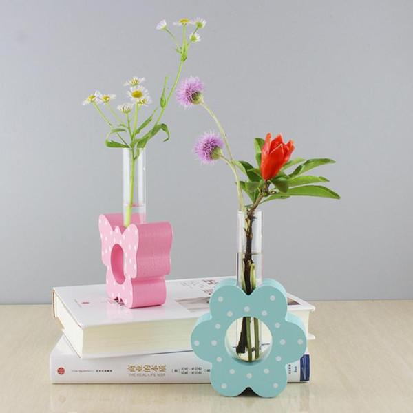 Style nordique verre et bois vase jardinière table bureau hydroponique plante vases Bonsaï pot de fleur en verre vase Home Decor