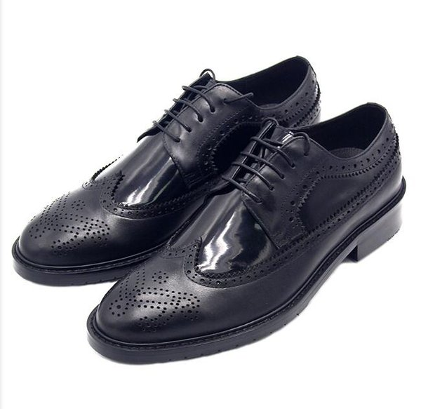 Hot Sale-Classic Evening Party Shoes Handmade Oxfords Brogue Derby Shoes Big Size Euro 38-45