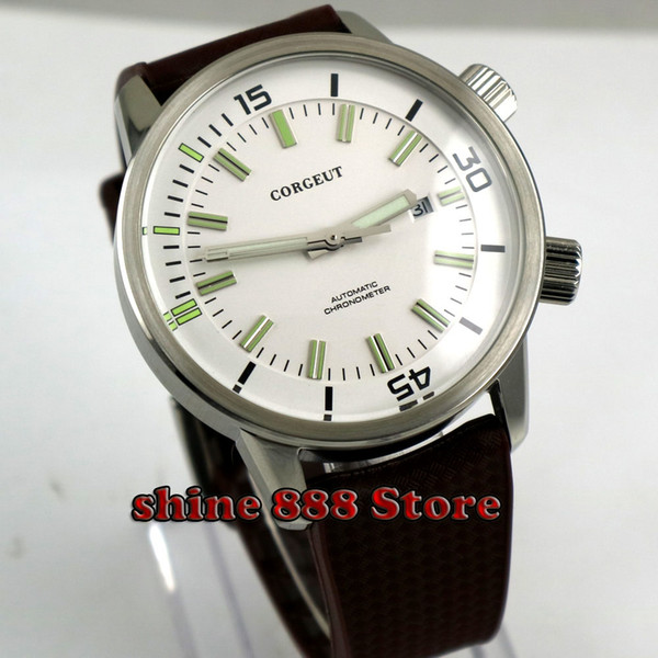 2018 Diver Corgeut 45mm Mechanical Watches white dial Luminous Hands 21 jewels miyota automatic men's wristwatch