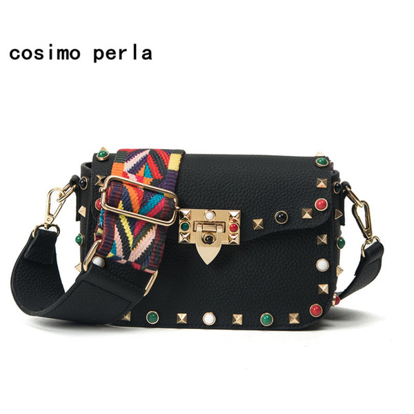 Colorful Wide Strap women small messenger bags Leather Shoulder Bag 2019 Luxury Designer Turquoise Rivet Metal Buckle Handbags