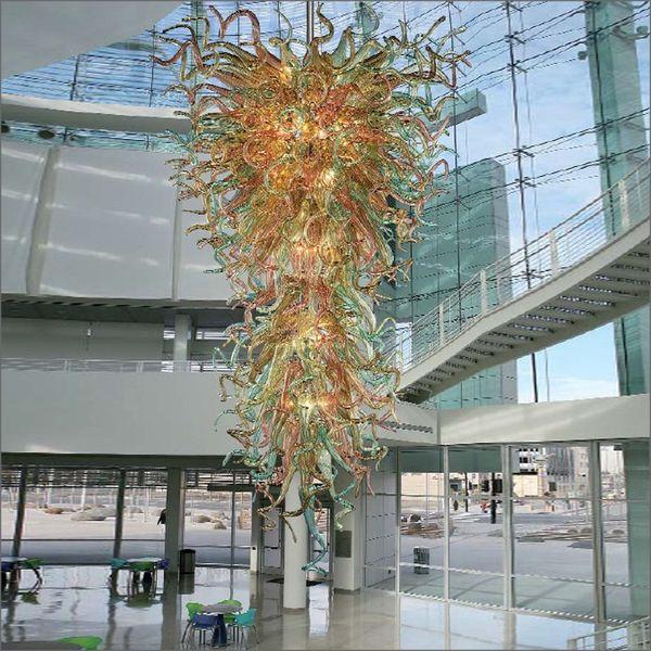 Estilo francés hecho a mano de vidrio soplado Chihuly arte araña personalizada color boca soplado de cristal lámparas de iluminación para el vestíbulo del hotel decoración