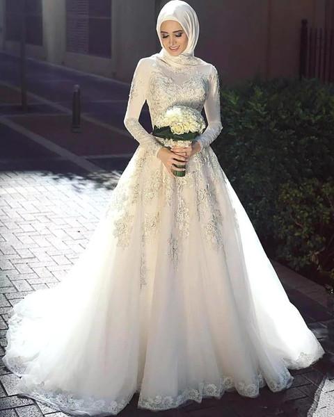 Discount 2019 Arabic Wedding Dresses Muslim Bridal Dress With Long Trail  Luxury Full Sleeves Woman Appliqued Hijab Wedding Bridal Gowns Long Wedding
