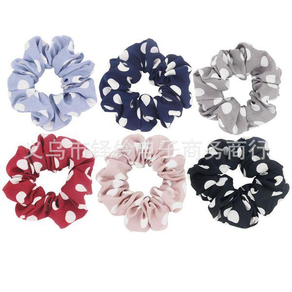 1PC Polka Dots Design Chiffon Fabric Hair Scrunchy Ponytail Holder Hair ties Gum Bands Large Dots