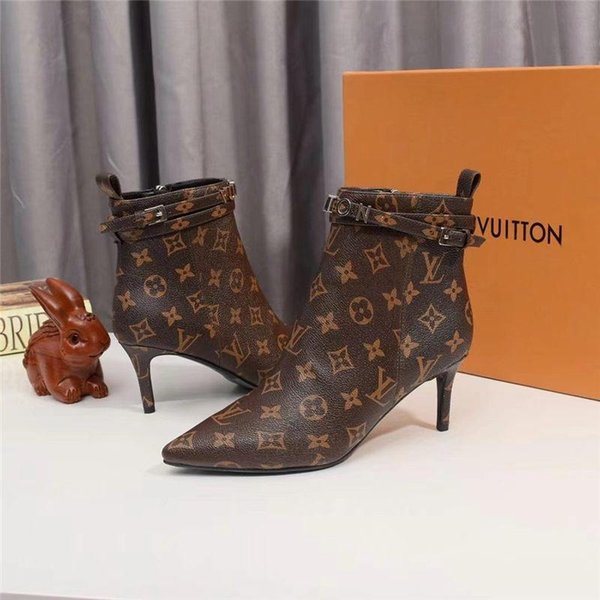 5lk french limited edition luxury women ' ;s autumn and winter casual shoes women ' ;s boots fashion printed fine heels