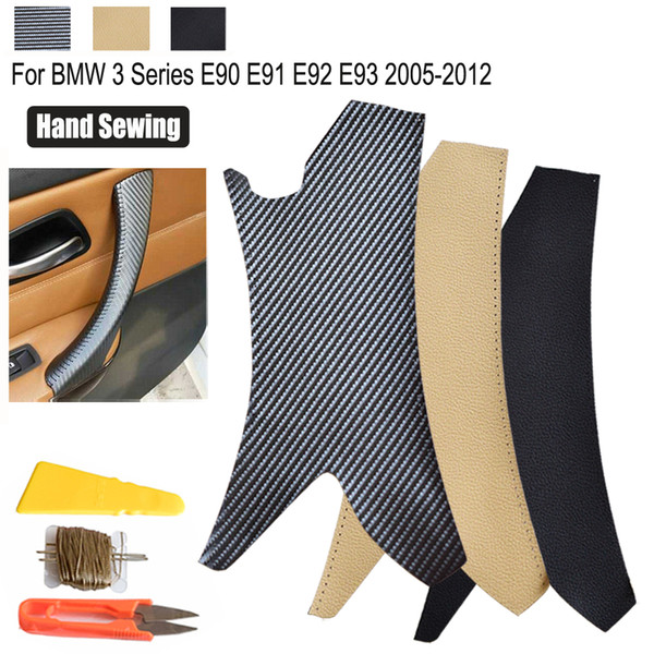 Inner Door Handle Leather Cover Hand Sewing For BMW 3 Series E90 E91 E93 05-12